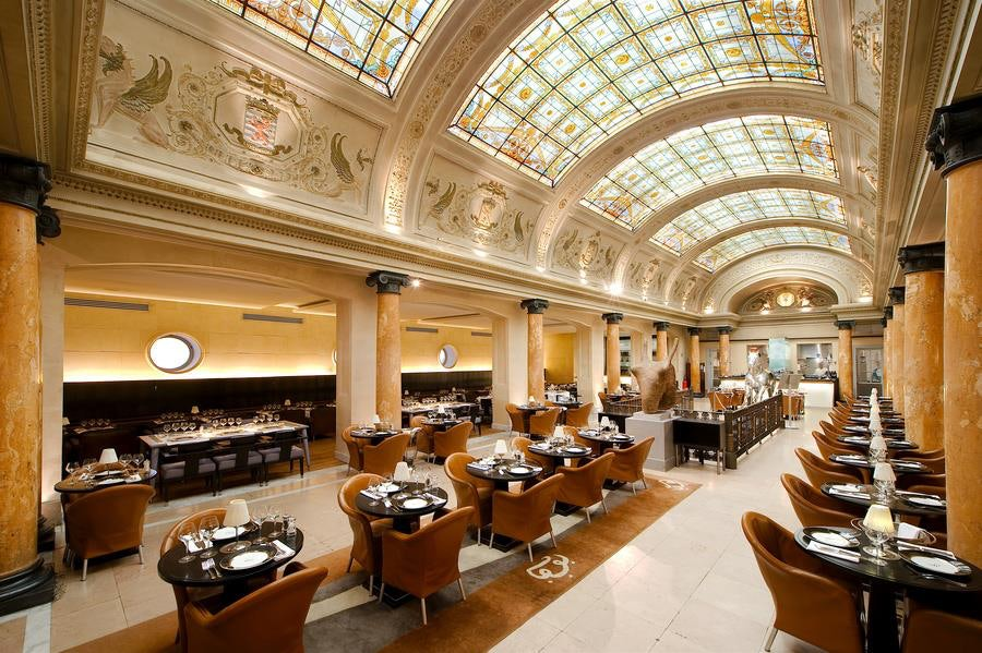 restaurant interior and glass ceiling at Belga Queen Brussels