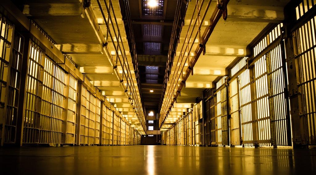 Alcatraz prison by night