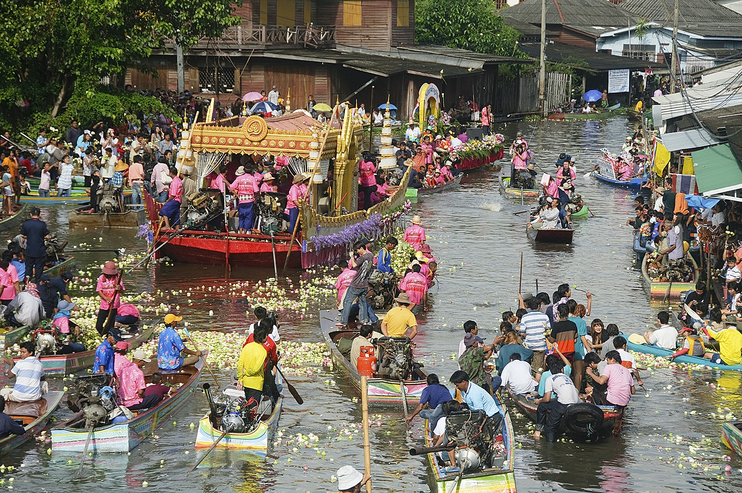 Rop Bua festival being celebrated on a River in Bangkok