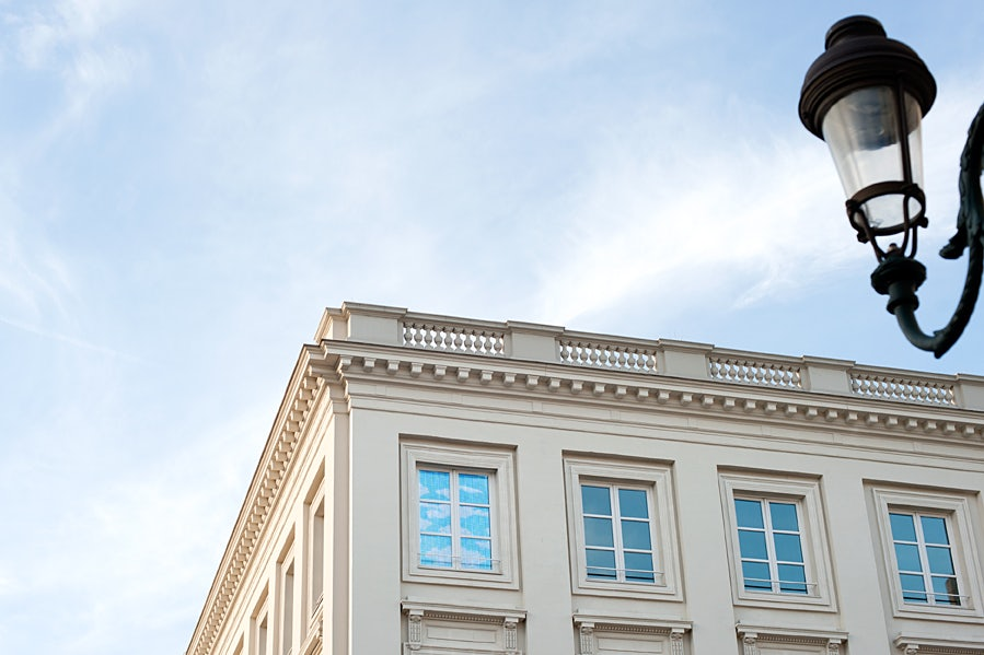 The Magritte museum against a blue sky in Brussels
