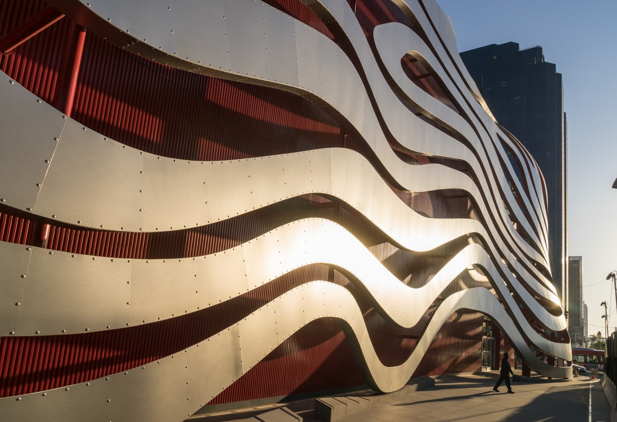 impressive modern architecture at the Petersen Automotive museum