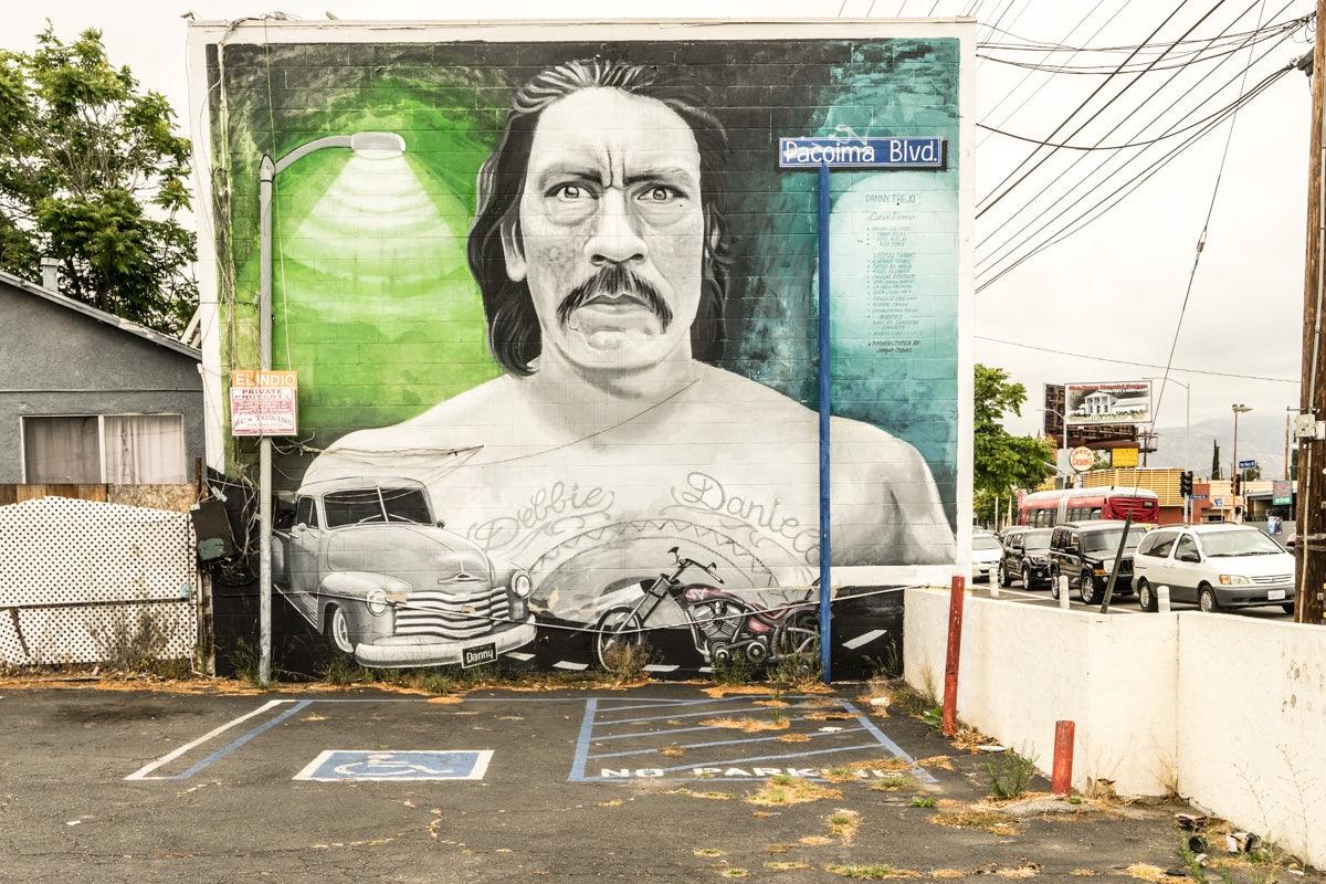 a mural paint at Mural Mile in LA