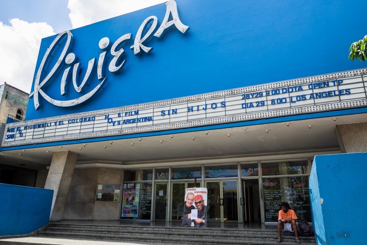 Blue building of Cinema Riviera