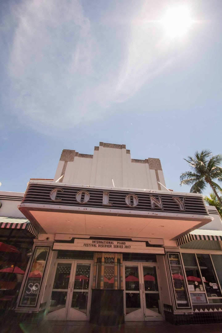 the front side of the Colony theatre in Miami