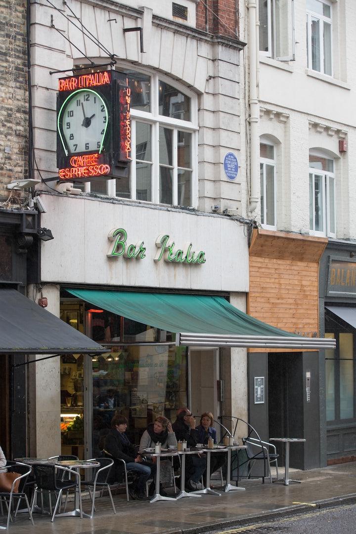 street side of Bar Italia in London