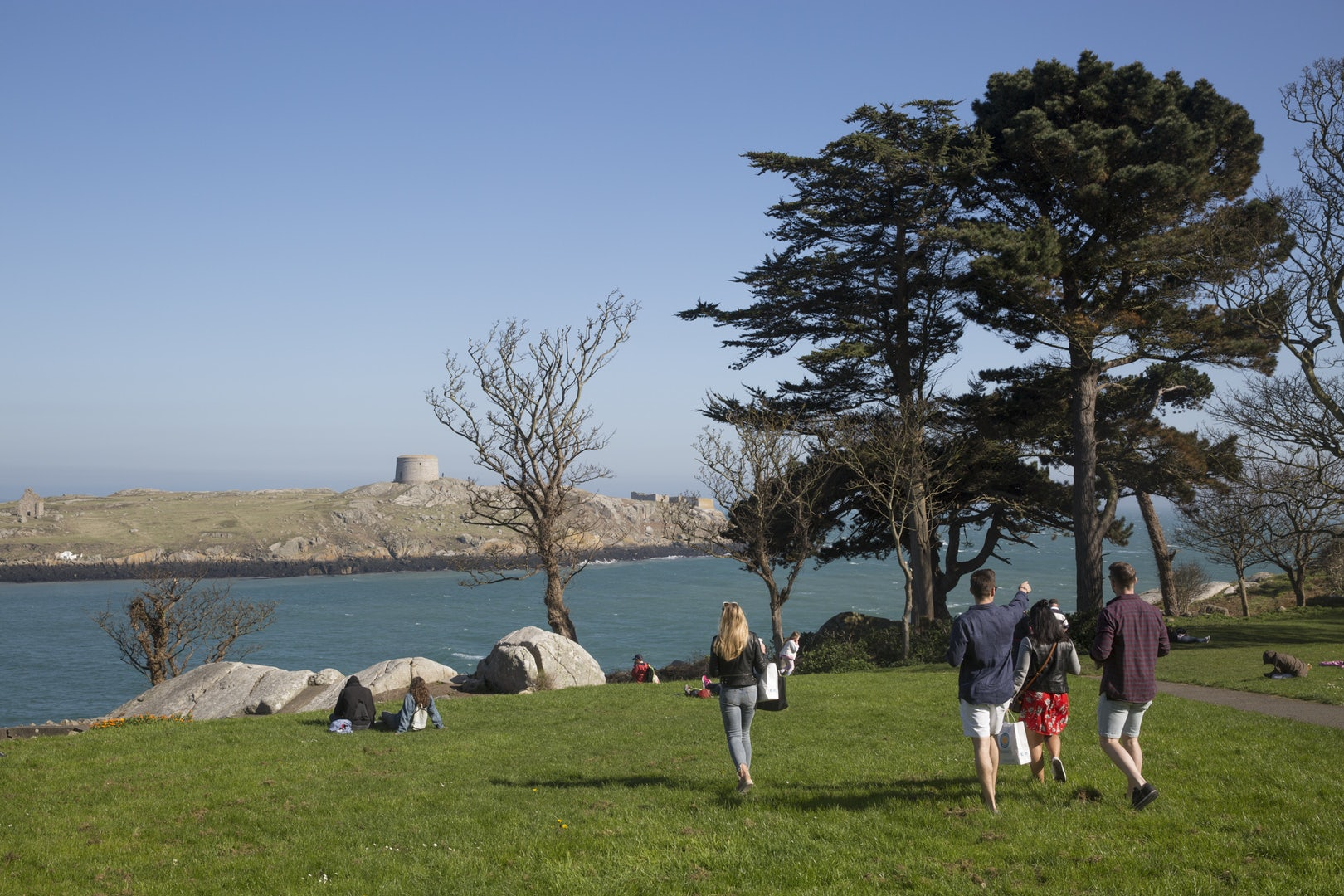 a group of people exploring Dalkey island