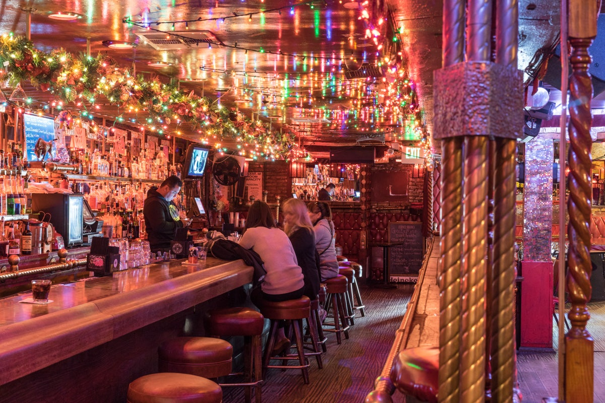 bar with colorful lights at La cita LA