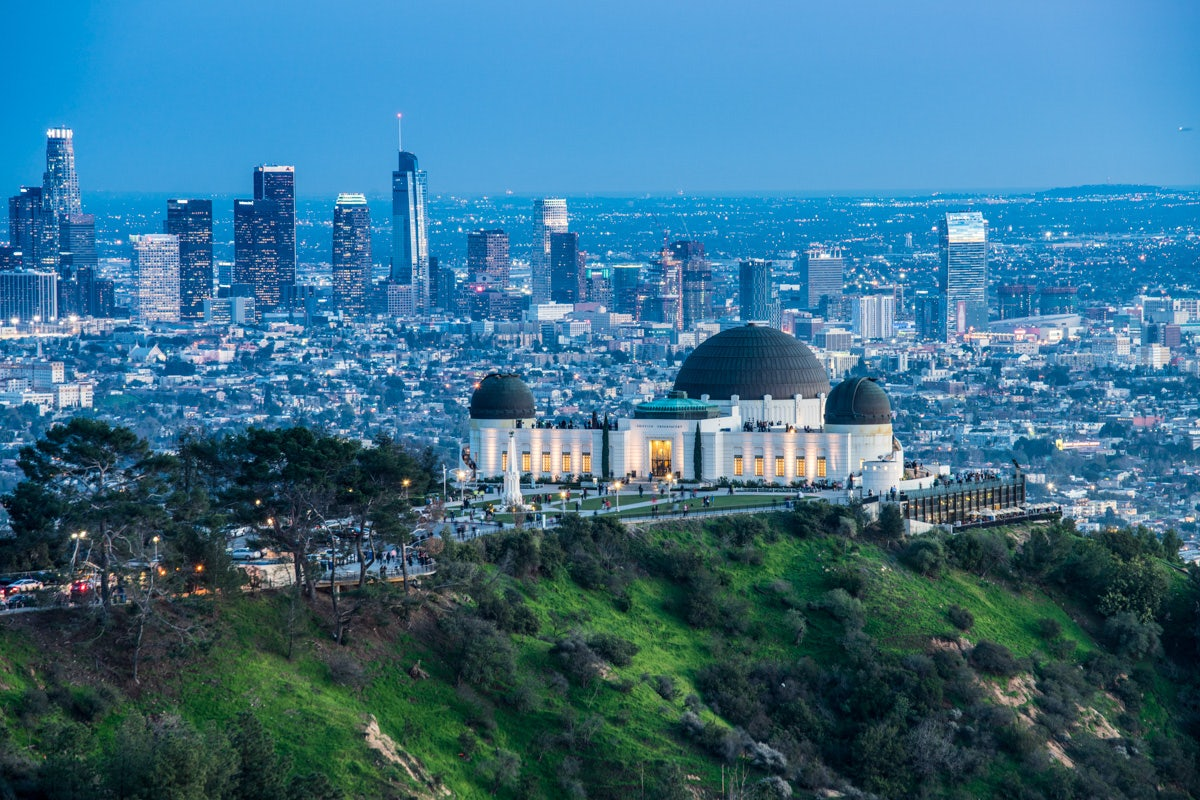the Griffith Observatory and skyline of Los Angeles