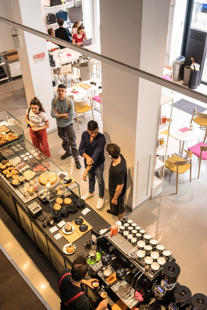 people at the Moleskine Café in Milan