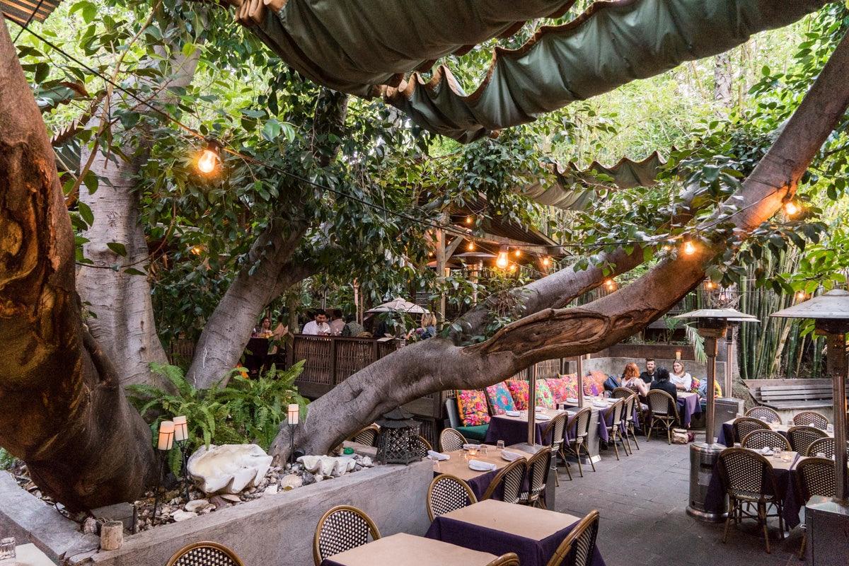 garden terrace of Cliff's Edge restaurant
