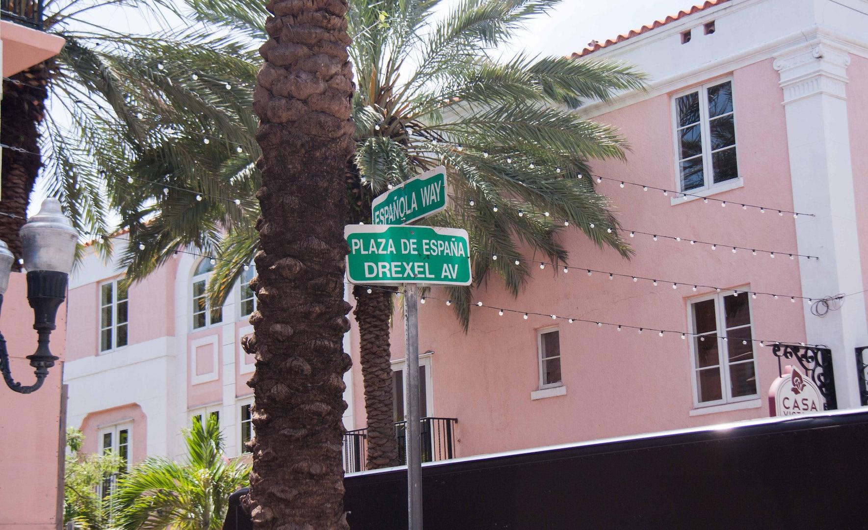 a pink house at Española way in Miami