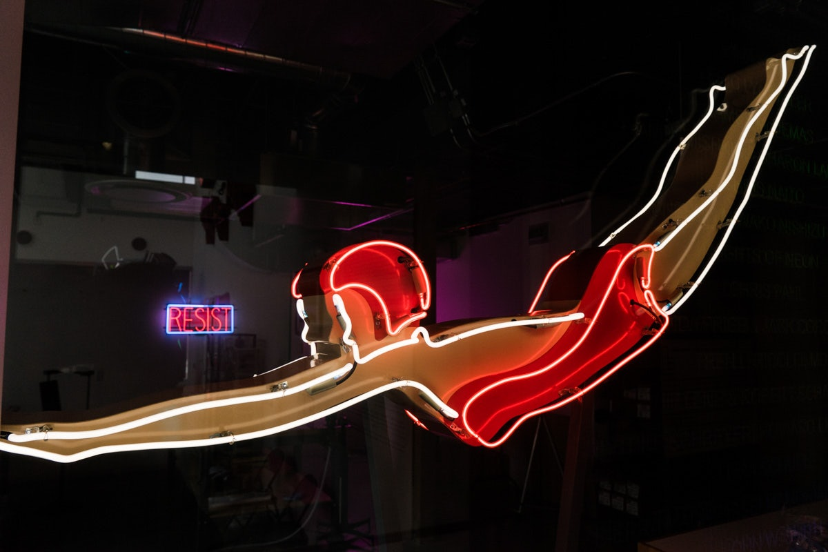a neon lamp at the museum of neon art