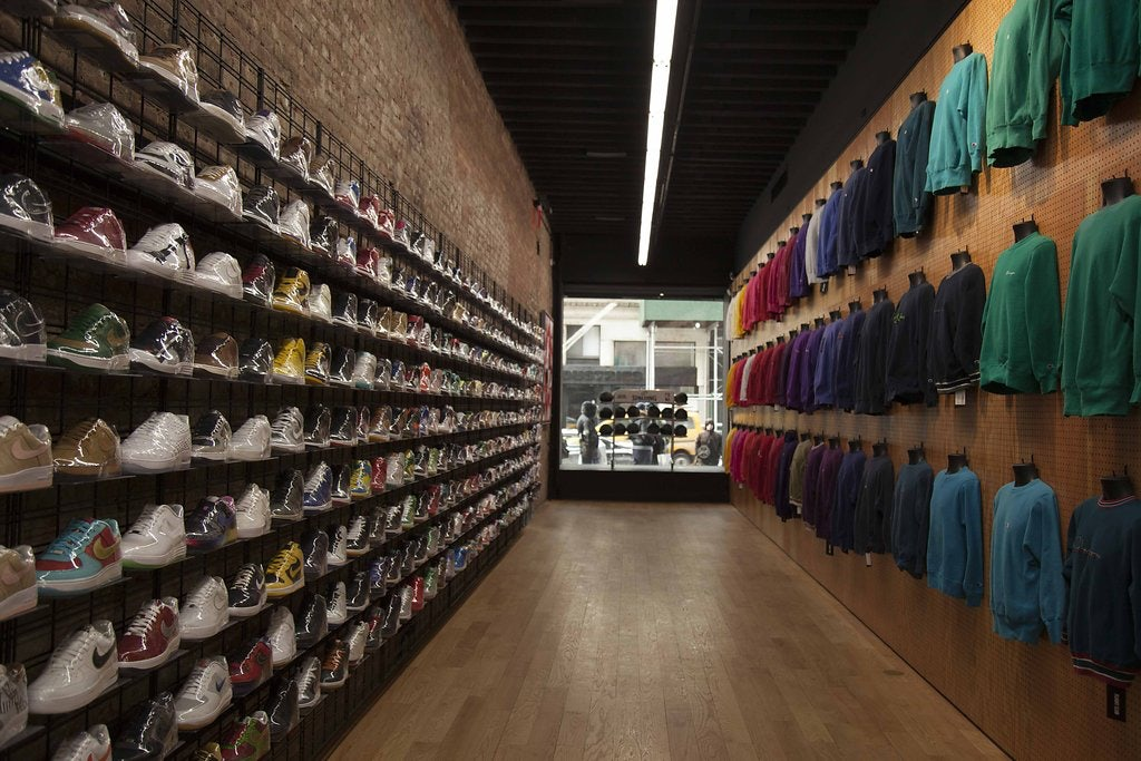 wall full of sneakers at Flight club
