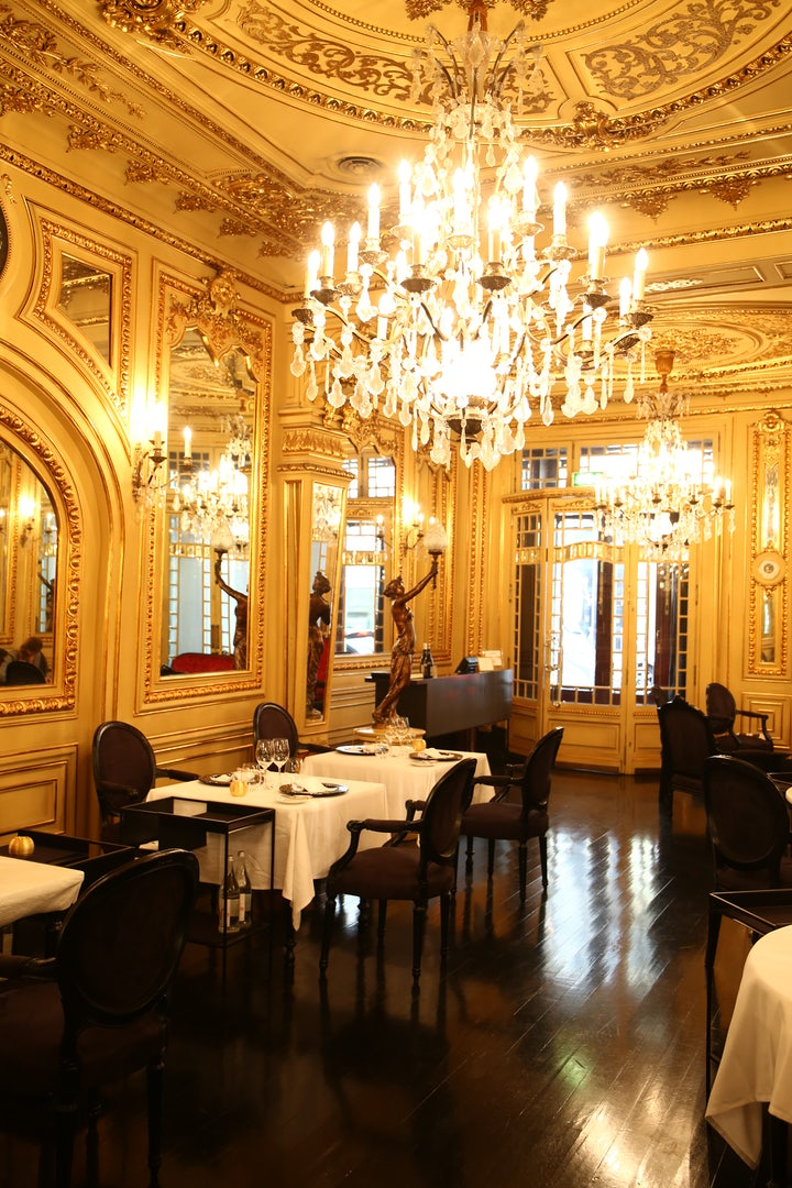 Lavish interior of restaurant Tavares in Lisbon