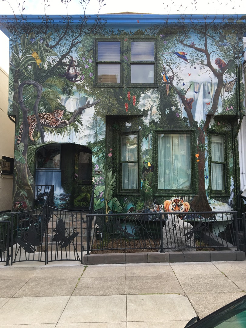 a painted façade of the Jungle House in SF