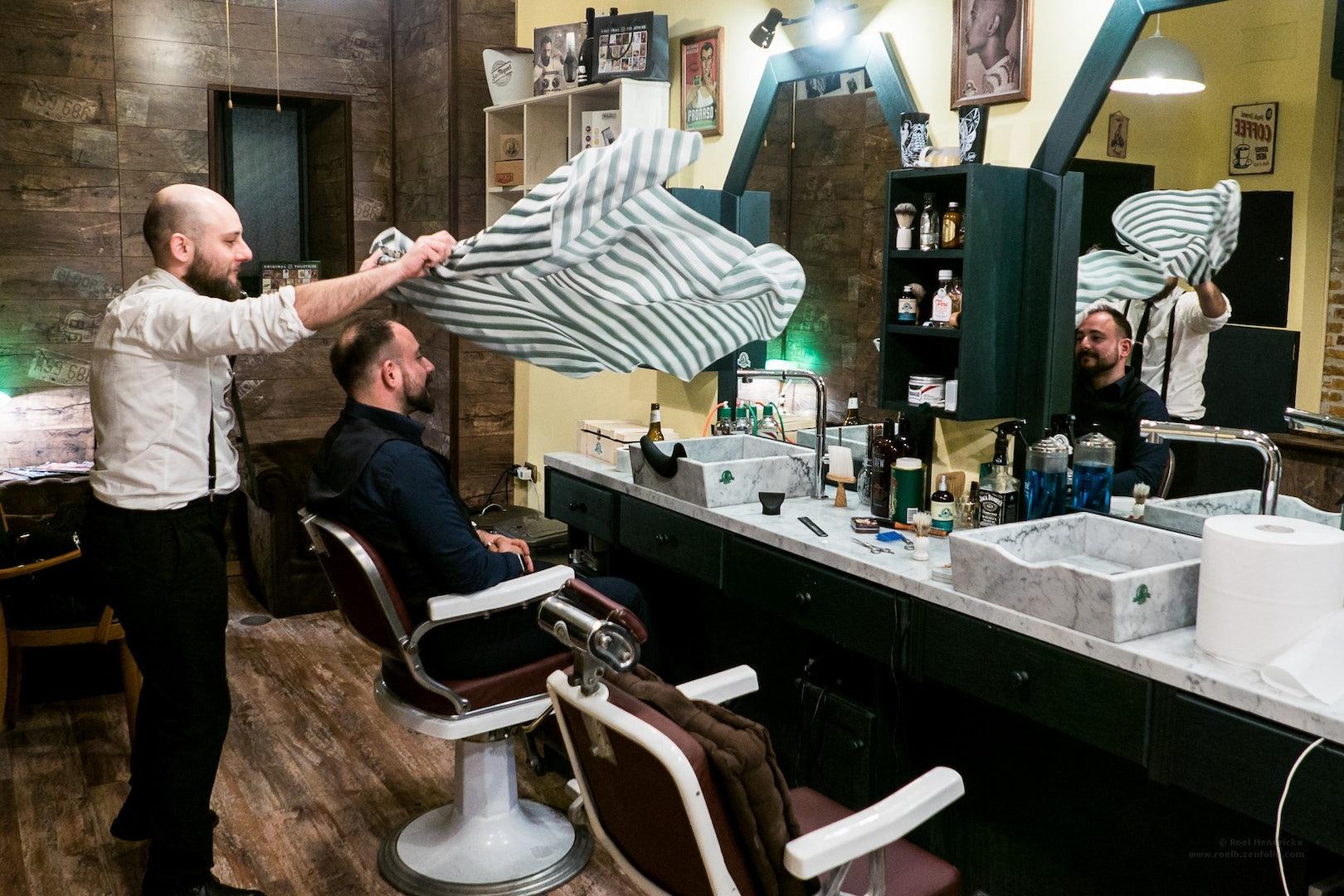 client at Machete barber shop