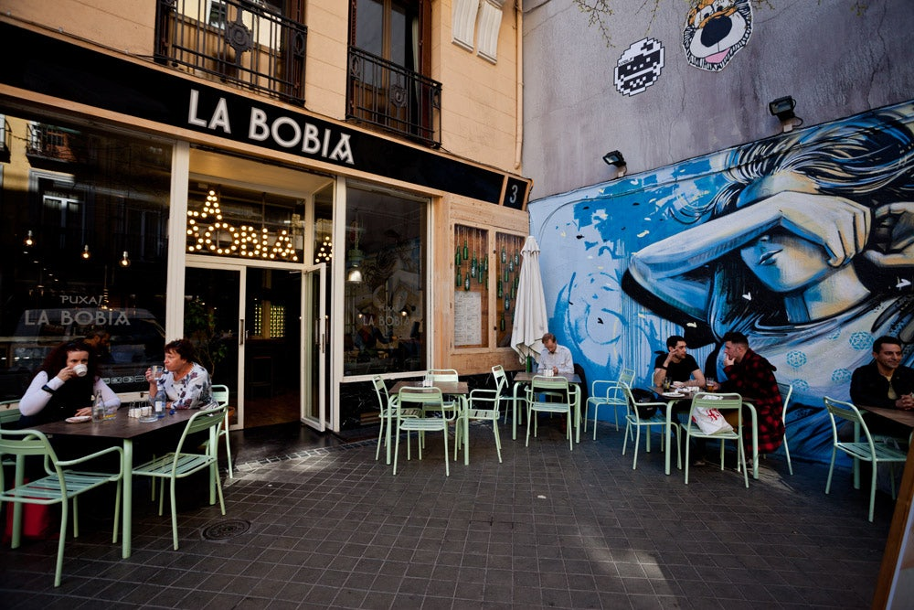 people having a drink outside at La Bobia