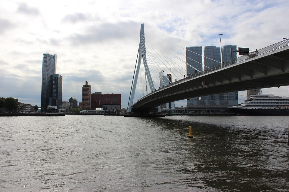 view over the Nieuwe Maas in Rotterdam