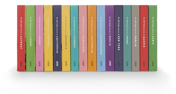 backside view of different editions of the 500 Hidden Secrets city guides