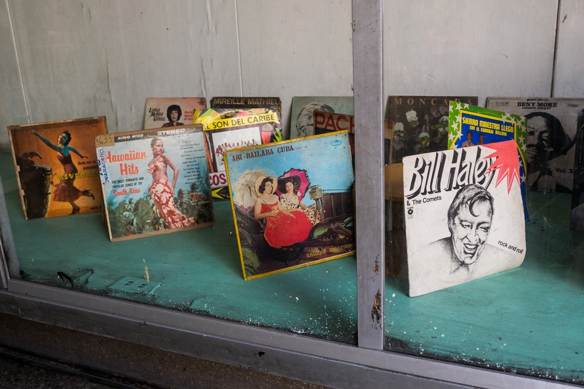 vintage vinyl records at Seriosha Havana