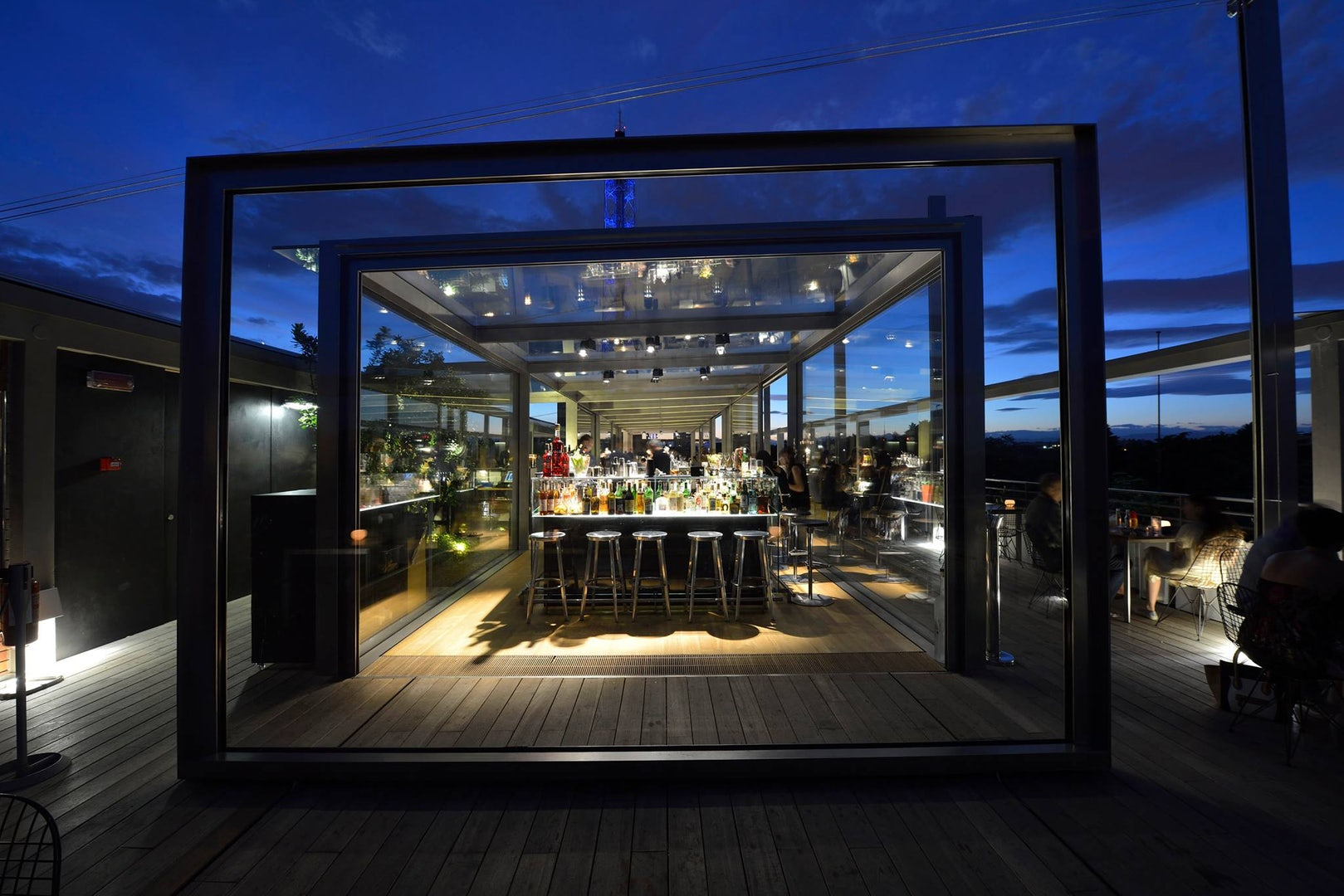 Terrazza Triennale in Vienna against a dark sky