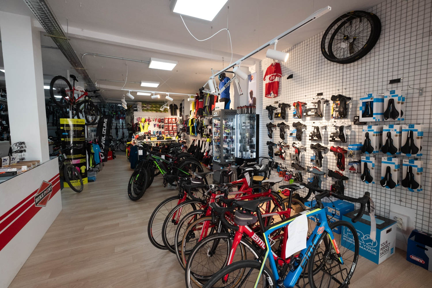 bikes and other accessories at Bike Point store in Tenerife