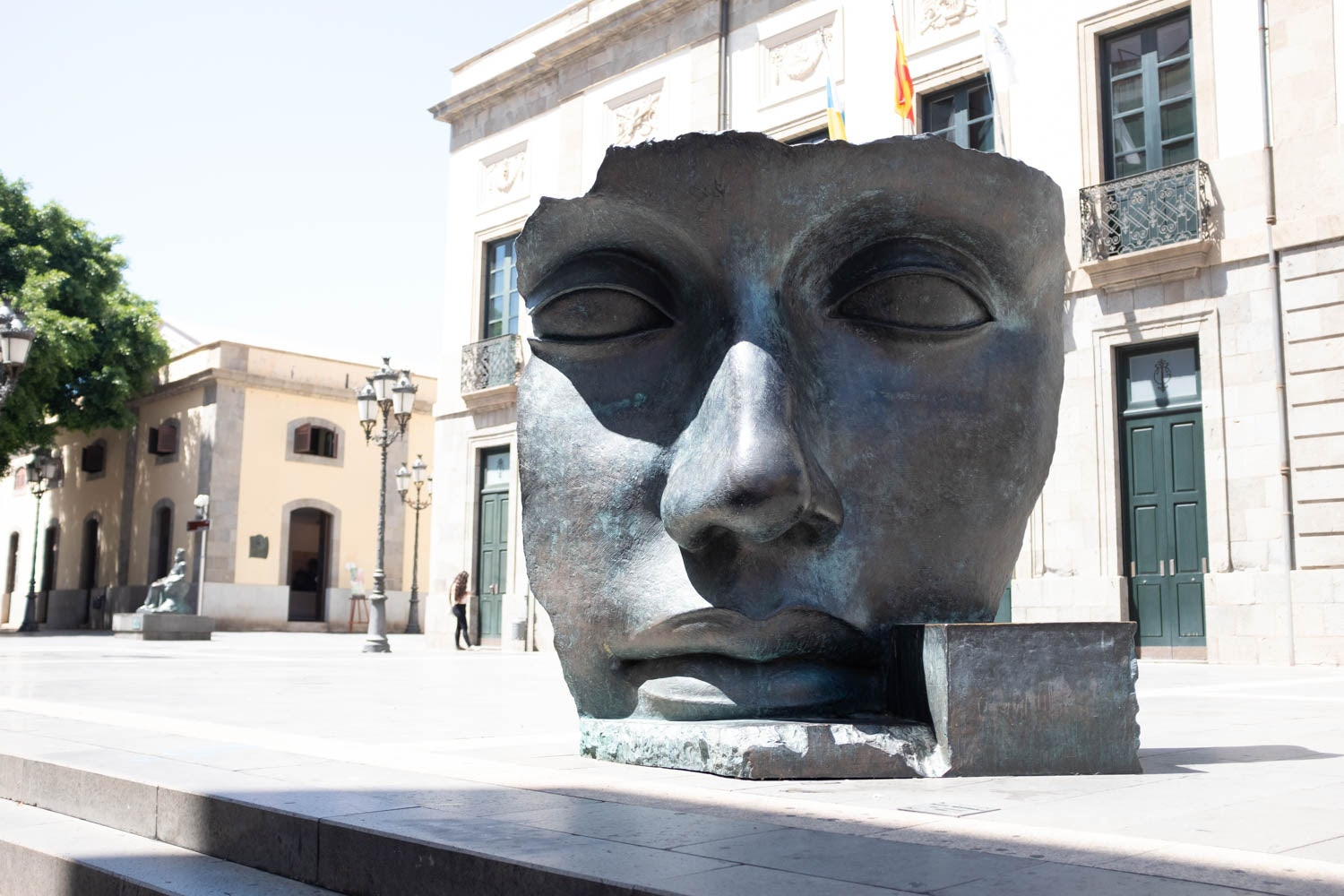 sculpture of a face at the Teatro Guimera in Tenerife