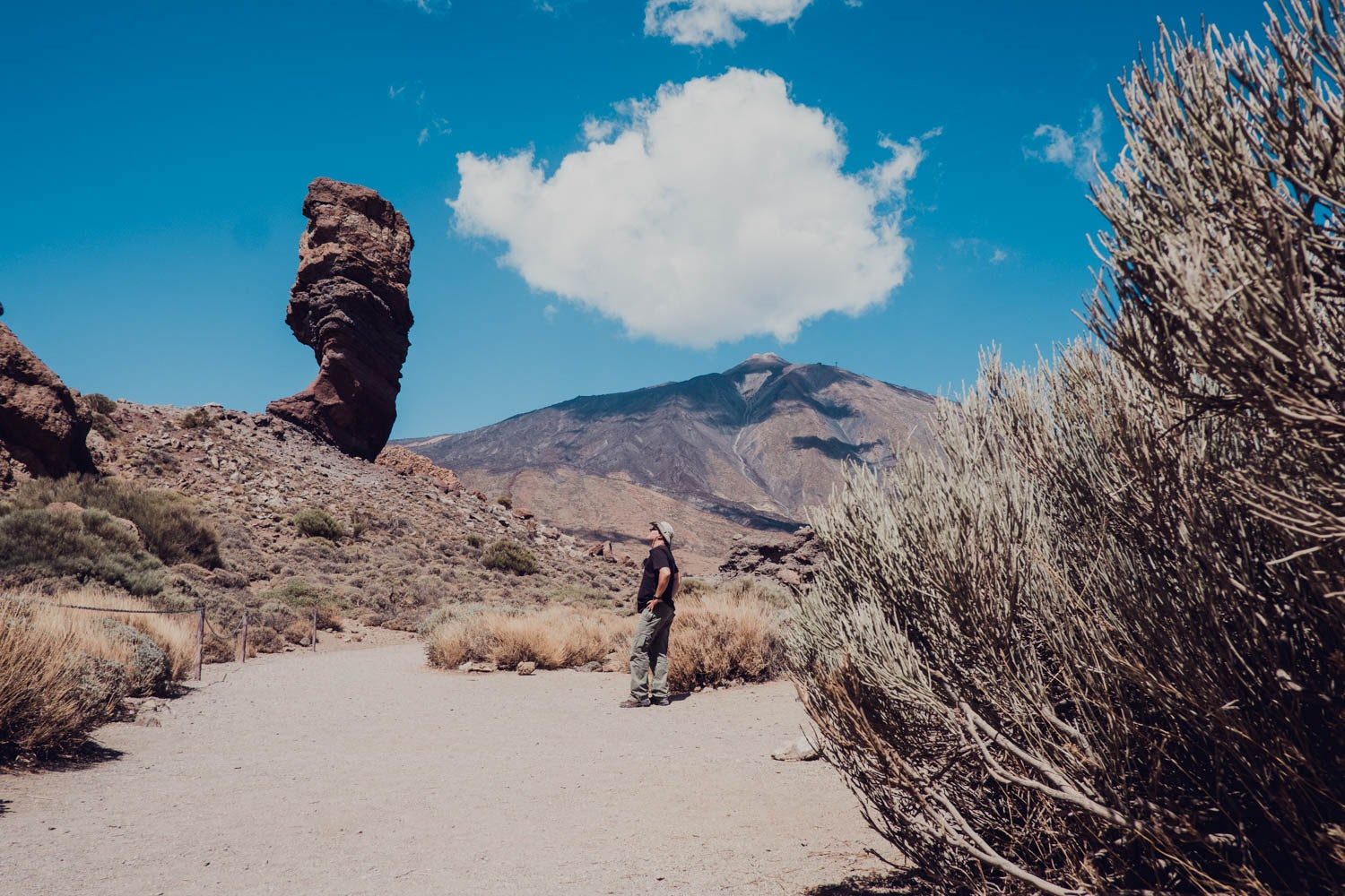 man walking near the Roques de Garcia in Tenerife