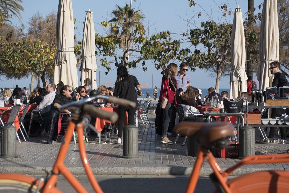 beach front terrace at Santa Marta in Barceloneta