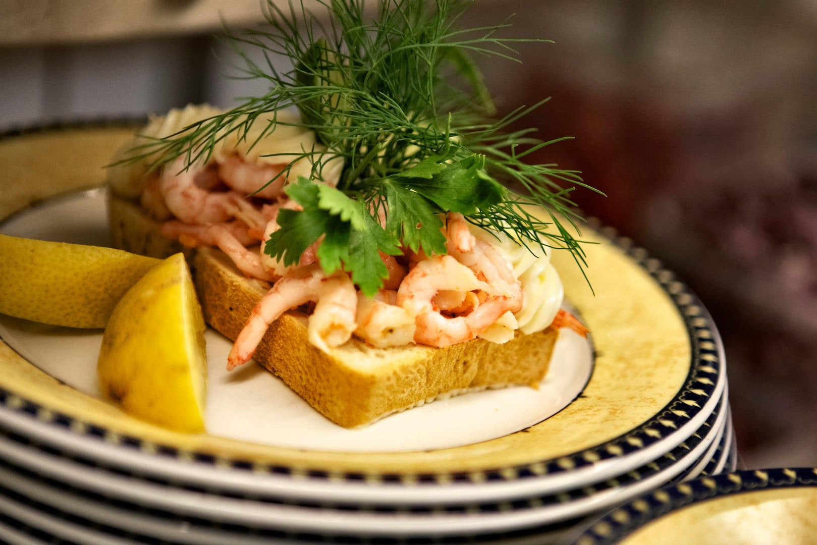 toast with shrimps made at Told & Snaps Copenhagen