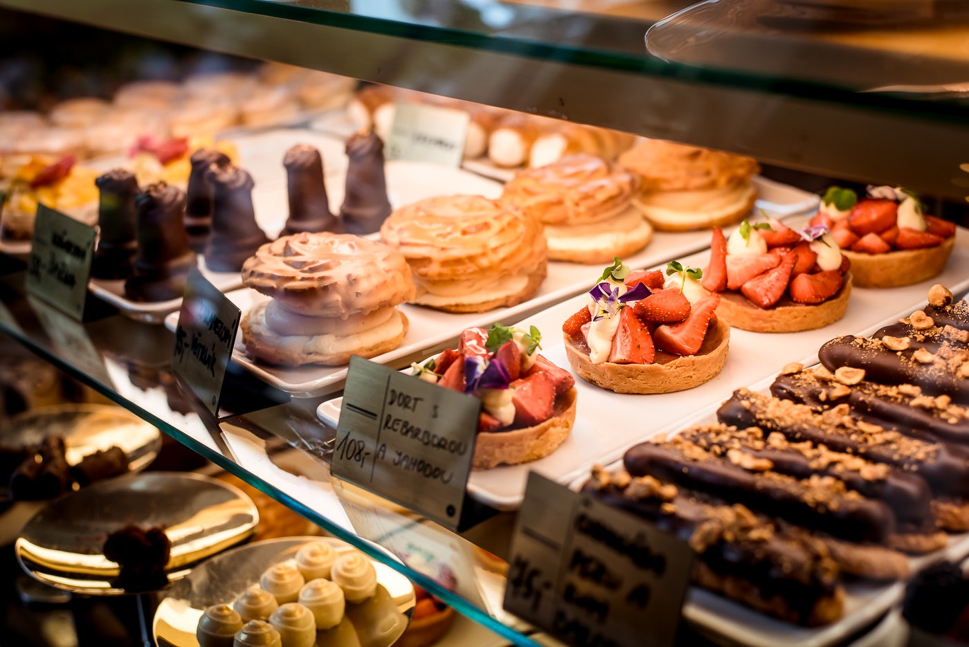 pastries and desserts from Cafe Savoy in Prague