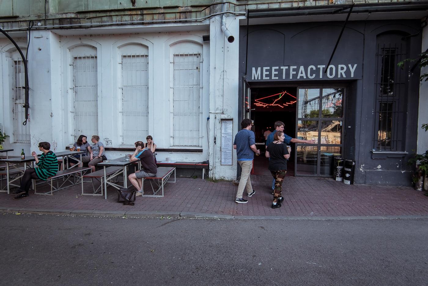 tables outside Meet Factory