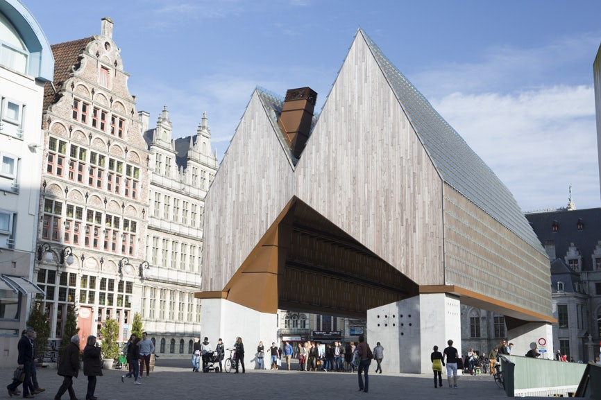 exterior of Stadshal building in Ghent