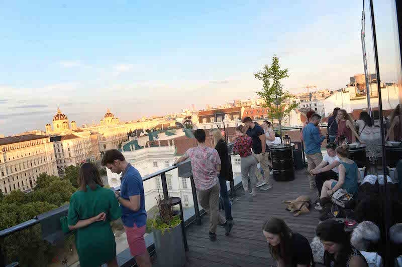 people on the rooftop of 25hours hotel Vienna