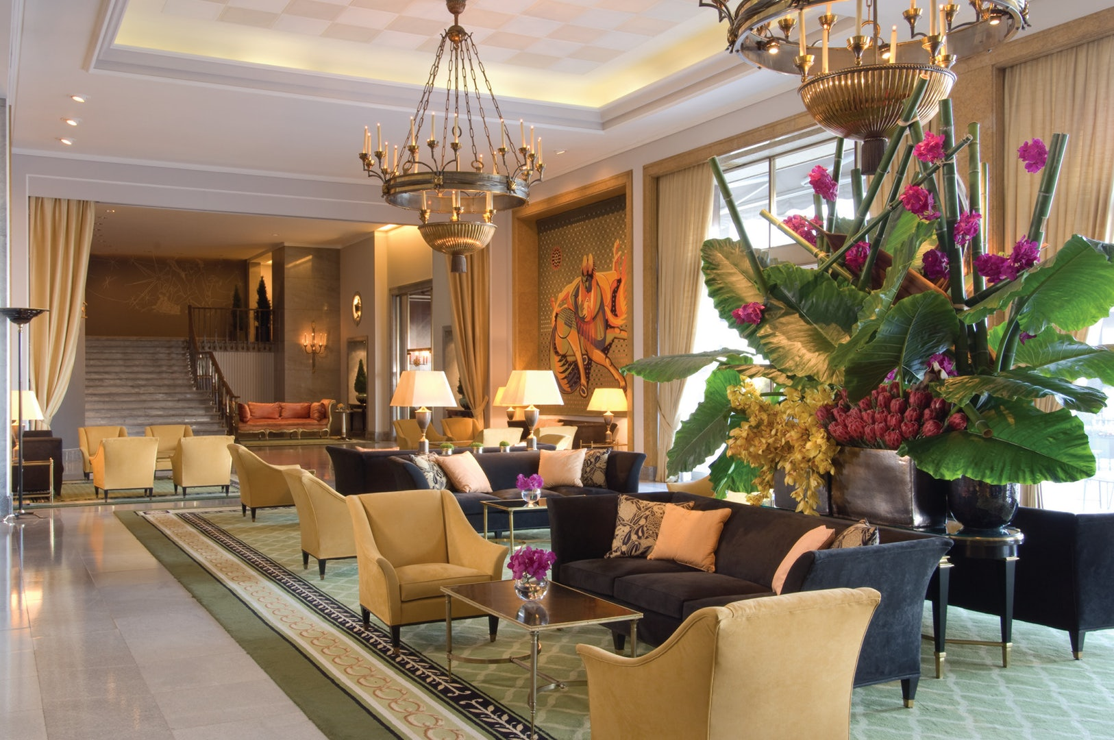 Lounge area at the Ritz Lisbon