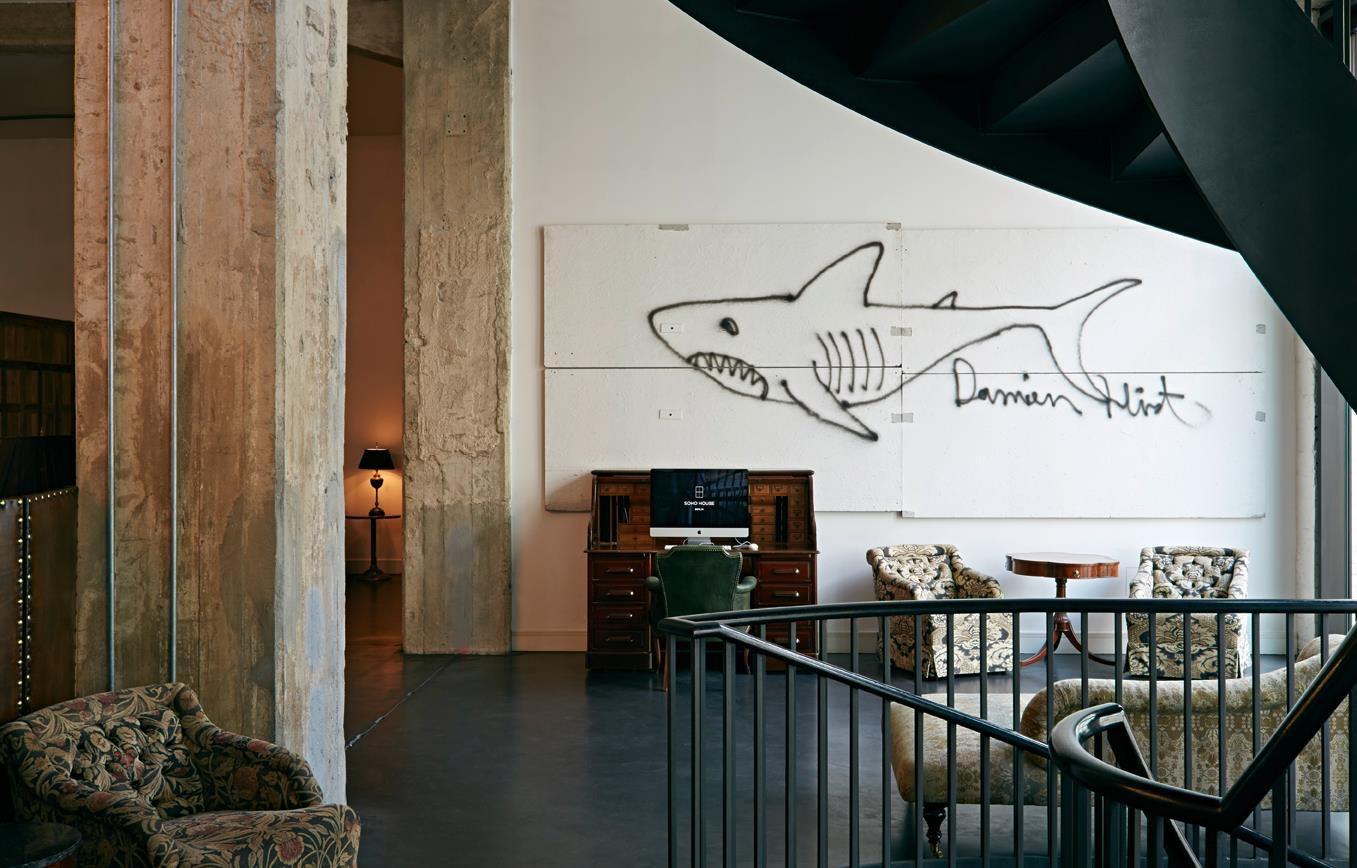 Damien Hirst art at the Soho House Berlin