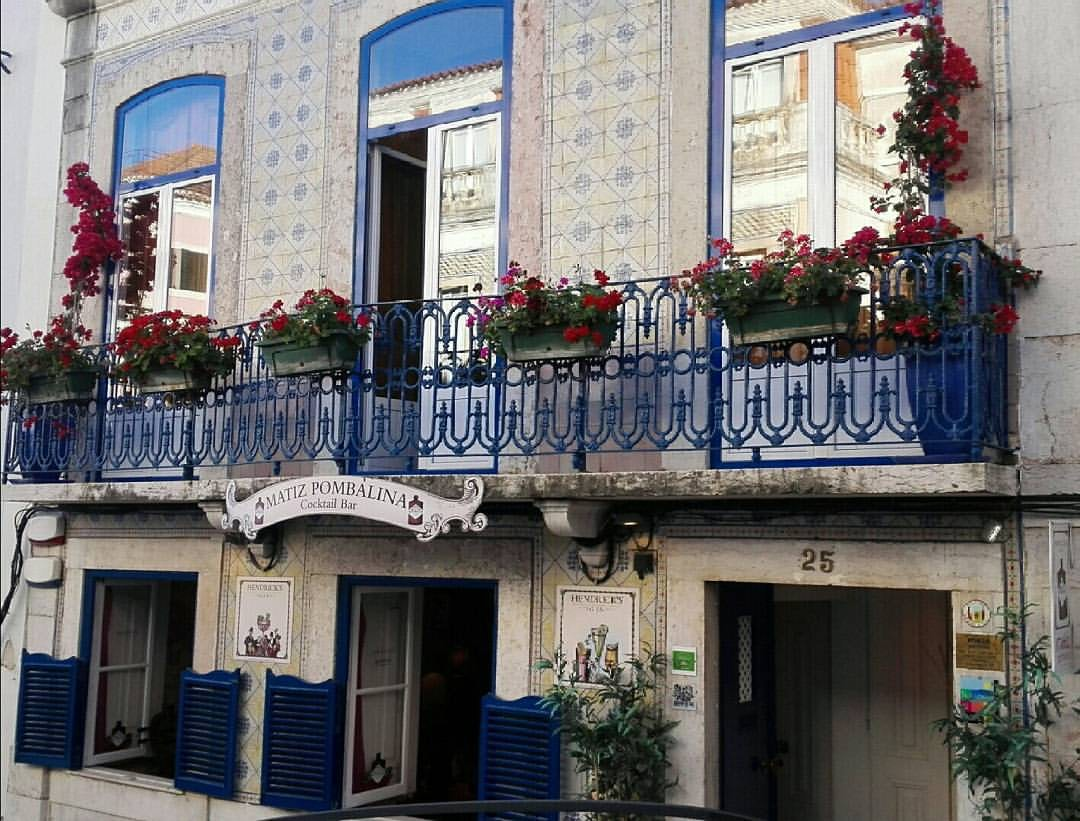 roses and blue and white façade of Matiz Pombalina