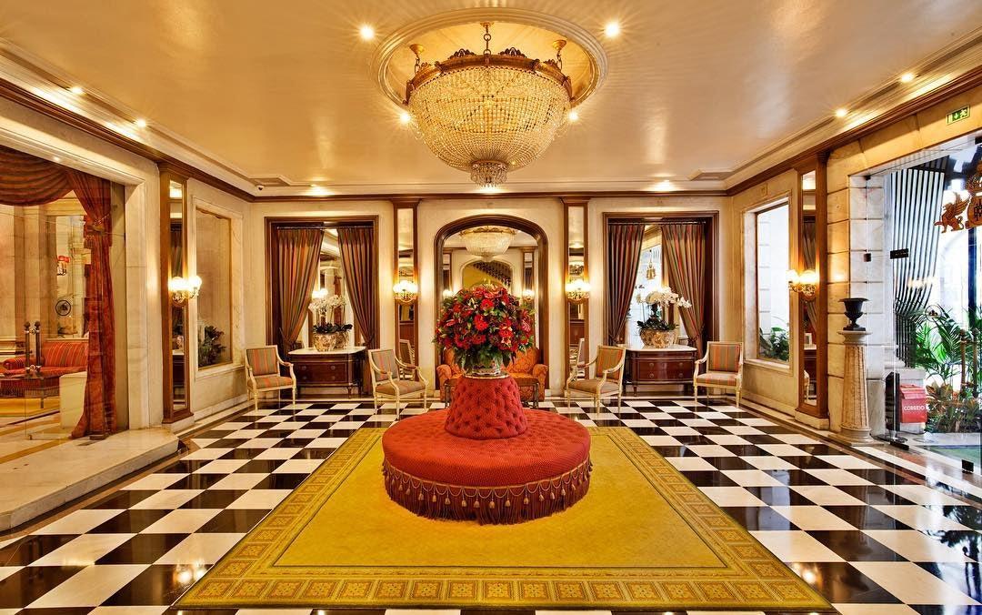 lavish lobby of the Avenida Palace in Lisbon