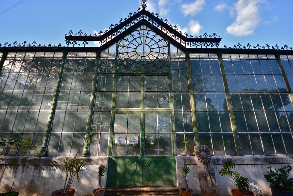 exterior of a greenhouse at the Jardim Botanico Lisbon