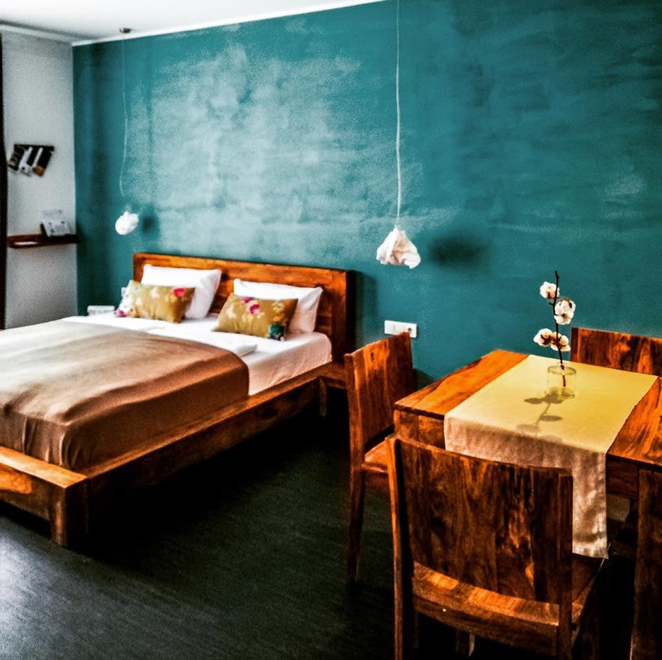 a two person bedroom at the Almodovar Hotel in Berlin