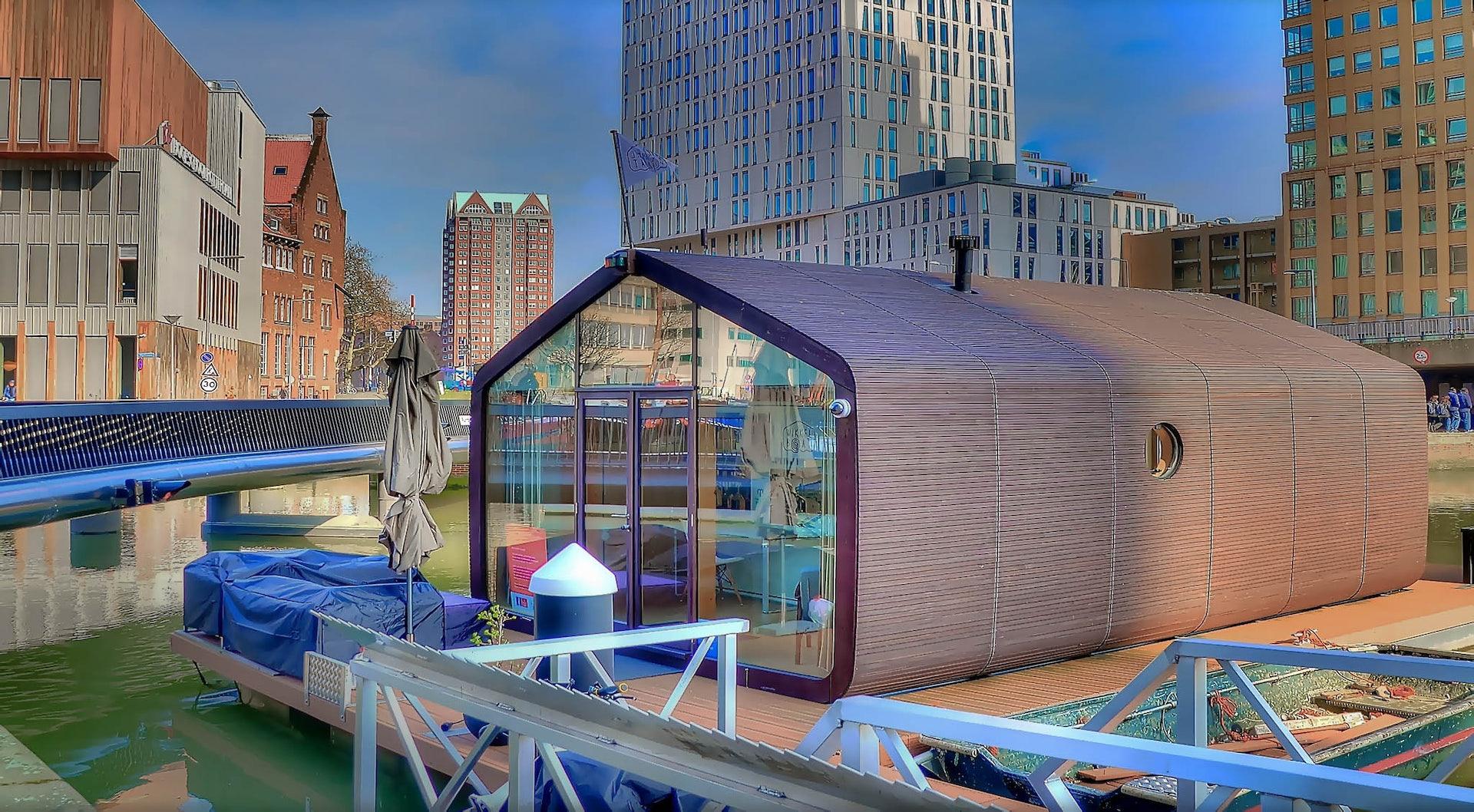 a floating cardboard hotel