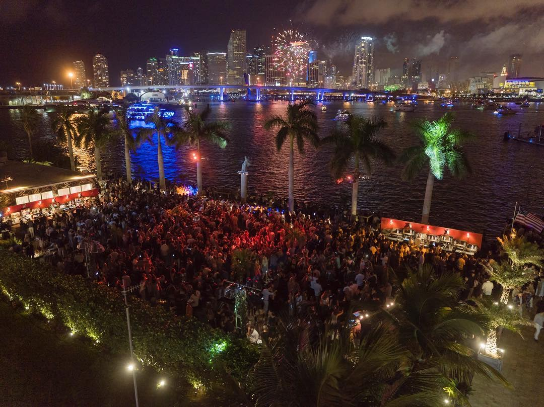 a party during the night at Island Gardens