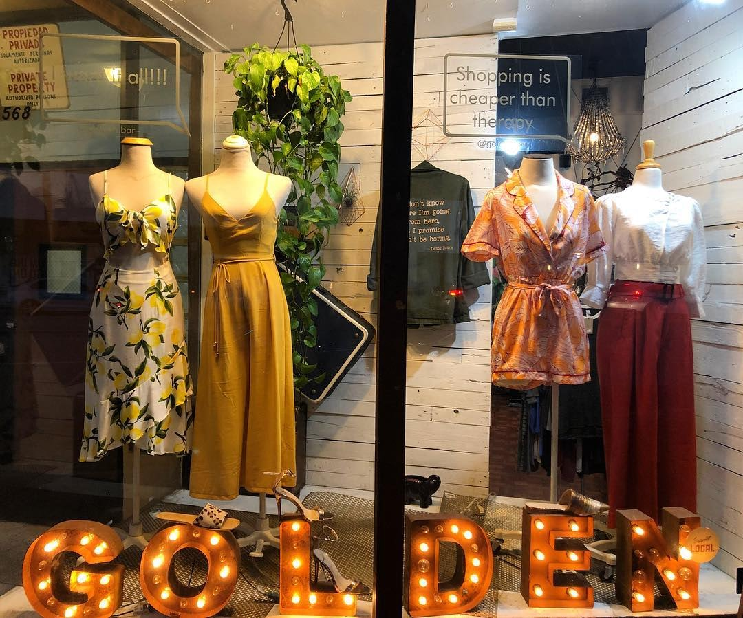 women's fashion displayed at the shop window of Golden Bar