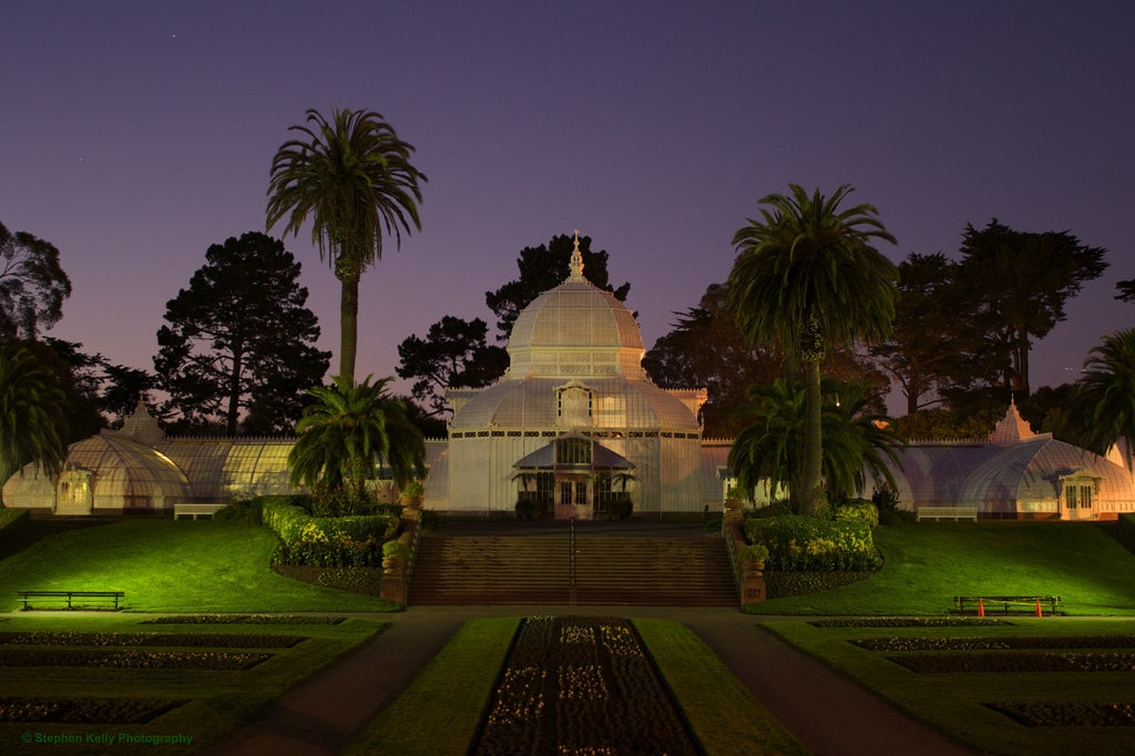 the Conservatory of Flowers in San Francisco by night