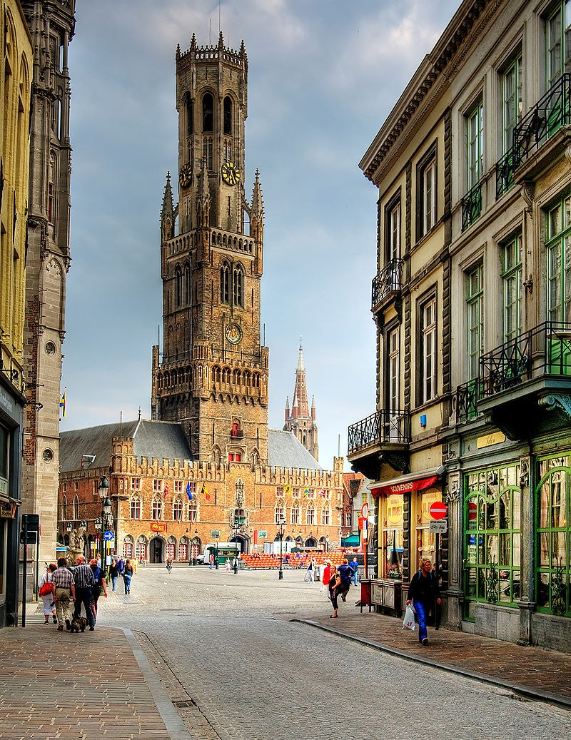 Merchant's Quarter of Bruges and large tower