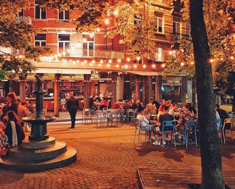 Bar du Matin terrace at night
