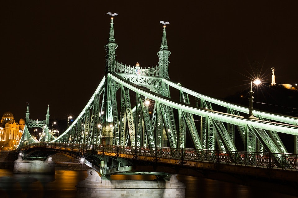 Liberty Bridge by night