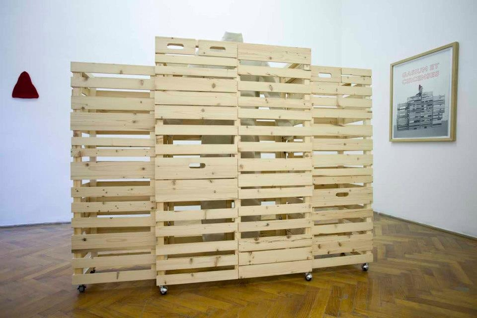 wooden installation at Knoll Gallery
