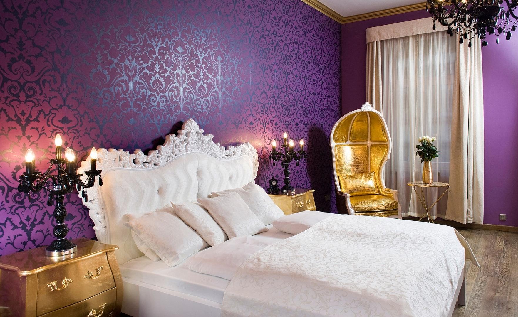purple interior of room at Soho Hotel