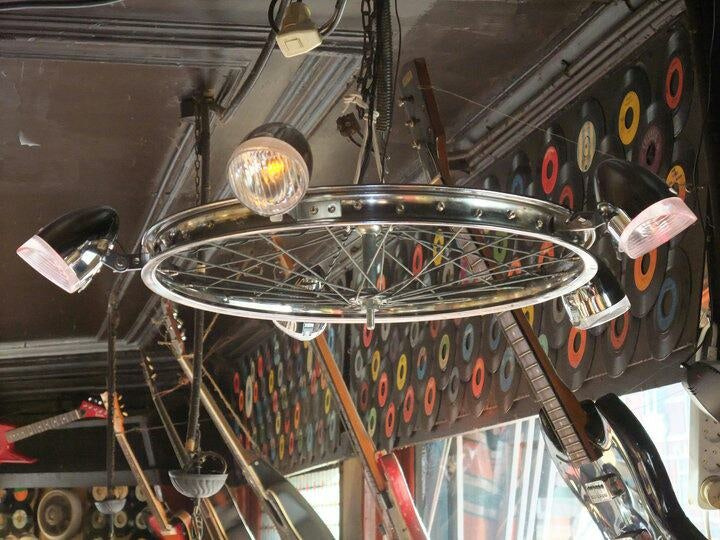 bike wheel hanging at Café de Bel